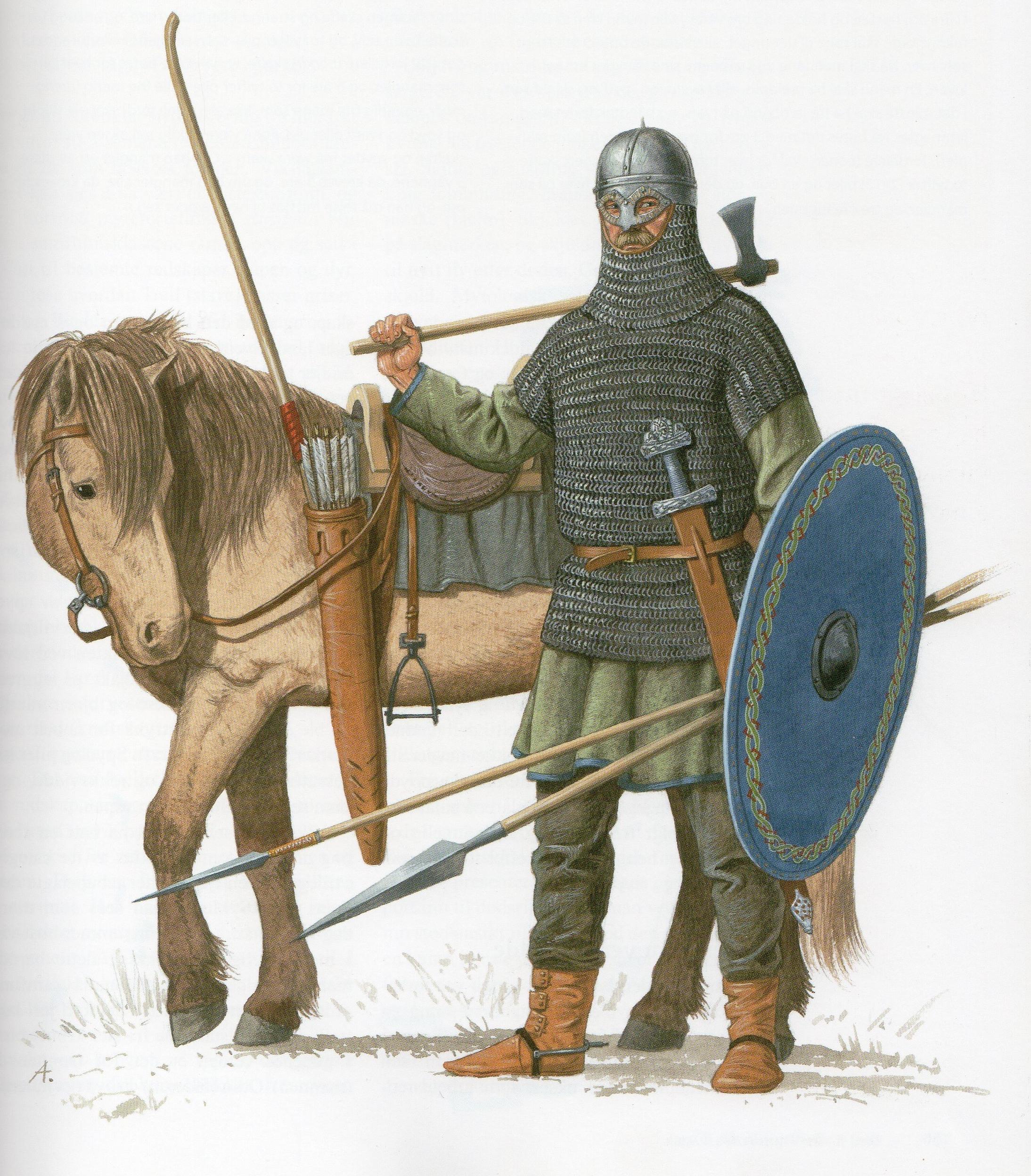 Předpokládaná rekonstrukce bojovníka uloženého v Gjermundbu, 10. století. Podle