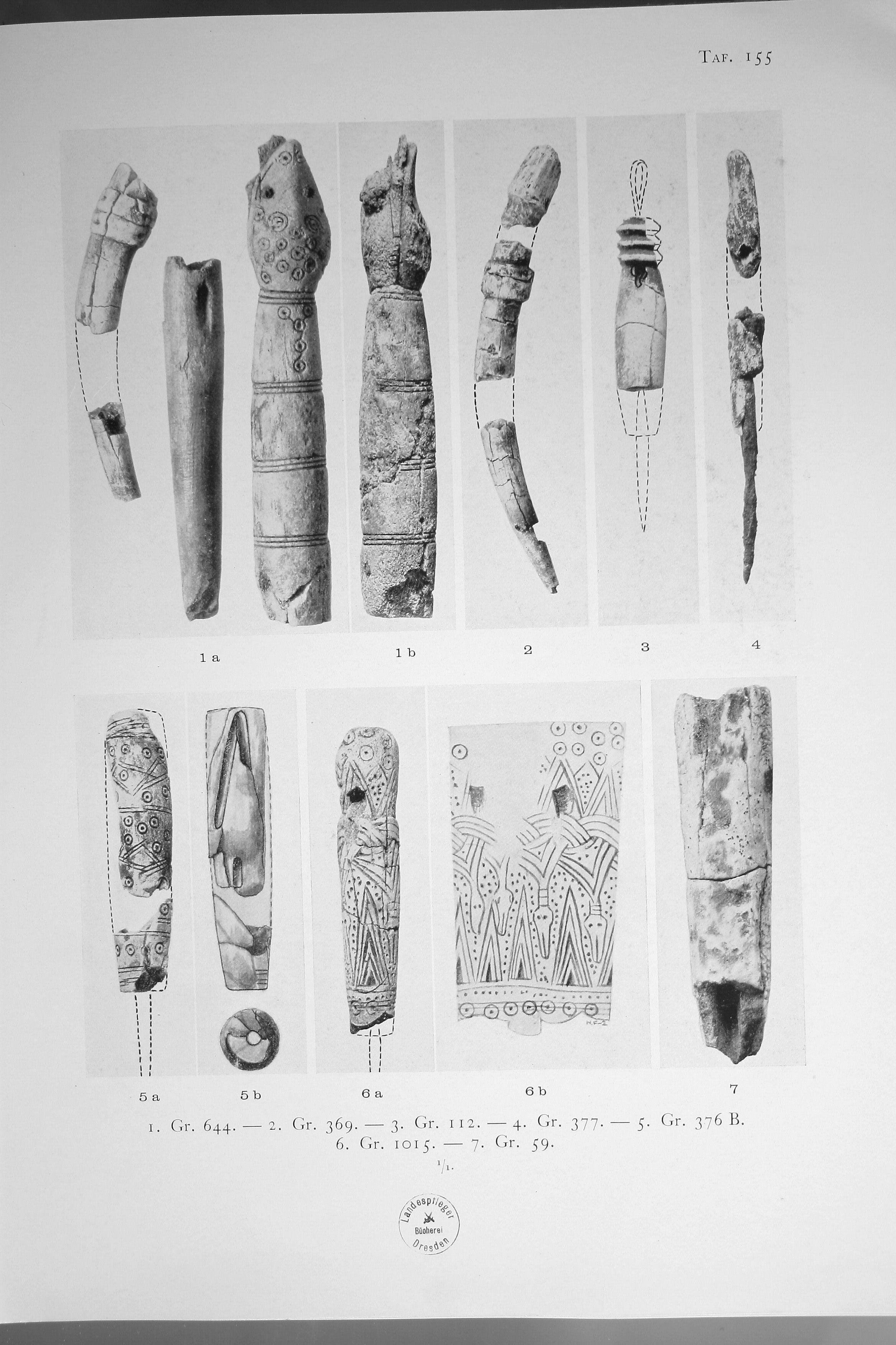 Parohové rukojeti šídel z Birky. Převzato z Arbman 1940: Taf. 155.