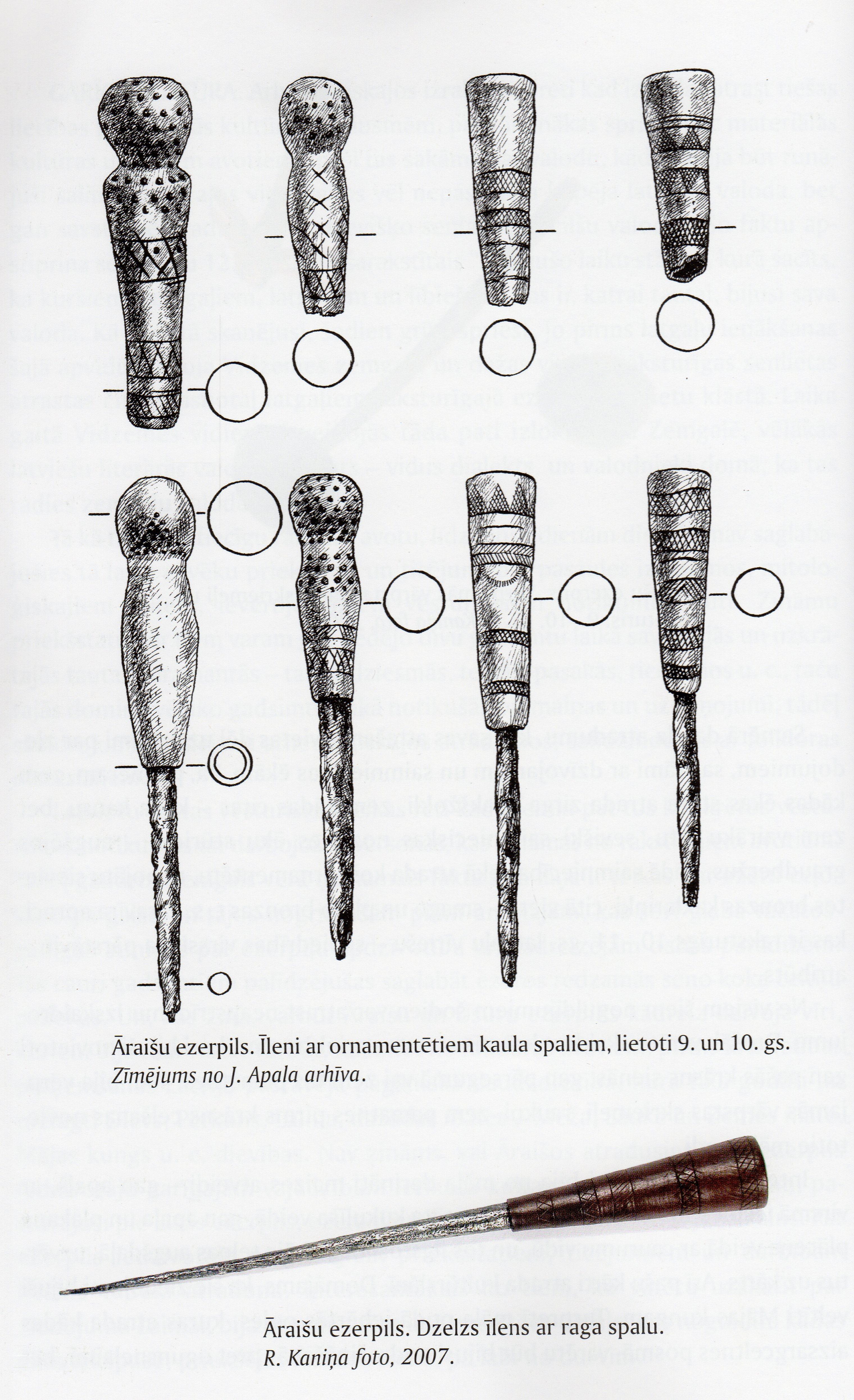 Latgalská šídla z Āraišu ezerpils, 9. a 10. století. Převzato z Apals 2008: 48.