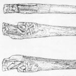 Šídlo s vyřezanou dřevěnou rukojetí, Dublin. Převzato z Lang 1988: 20, Fig. 28.