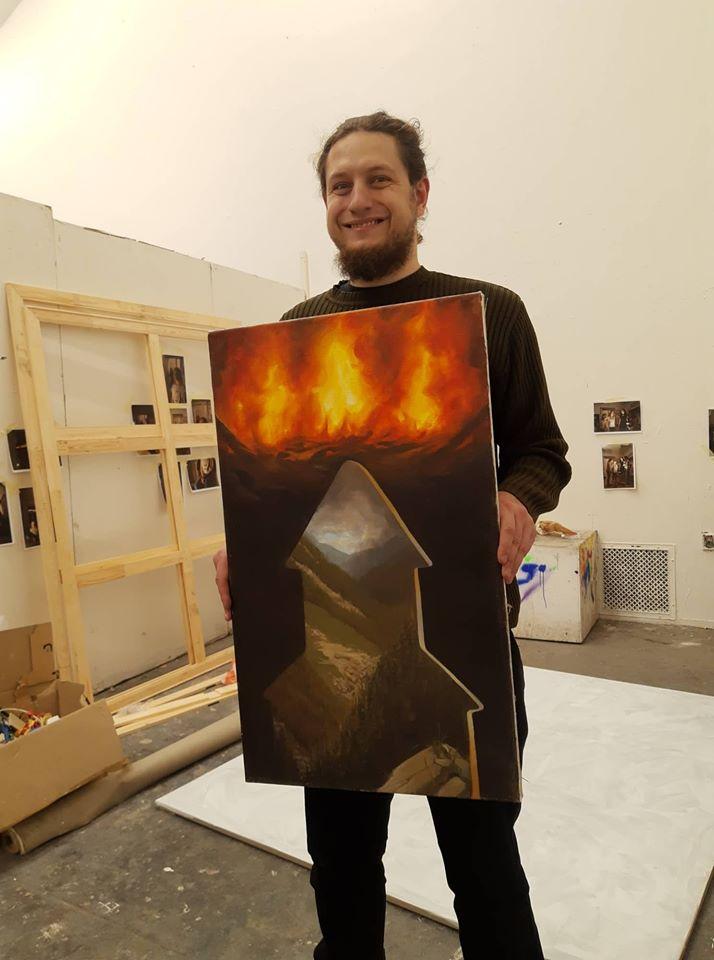 Klára Sedlo : Horský oheň, olej na plátně, 75 × 40 cm, 2017, soukromá sbírka